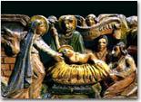 Natività, chiave di carretto della Sicilia occidentale in legno intarsiato e dipinto, XX secolo. Collezione privata, Palermo. Foto di Melo Minnella